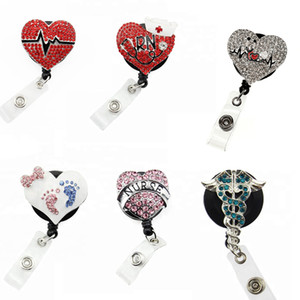 Mix cuore di cristallo strass Nurse ID Badge Holder Donna yoyo carta di distintivo ritrattabile Badge Reels