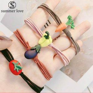Verduras nudo simple cuerda doble pelo elástico para los accesorios Niñas Bohemia venda de la manera del pelo de los niños para las mujeres mayor-Z
