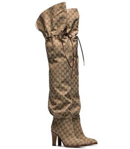 Высокое качество фирменных женщин письмо холст сапоги дизайнер колено девушка кожаные резиновые сапоги на высоком каблуке