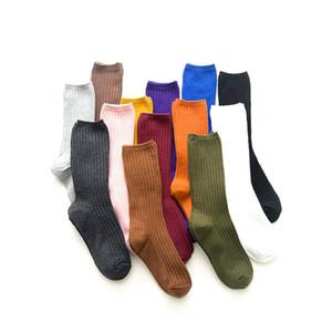 Nouveaux desserrées Chaussettes Femmes 200 Aiguilles à tricoter coton côte Couleurs solides types de 4 saisons Femmes Basic Daily Socks Livraison gratuite