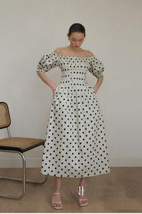 New Arrival French retro polka dot dress slash neck sexy slim long dresss Women's Dress 200526PY03
