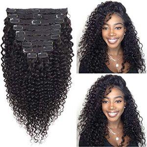 Джерри вьющиеся клип в наращивание волос 8а реальные волосы бразильский девственница человека двойной кружева утки волос Вьющиеся клип ins для чернокожих женщин 120 г