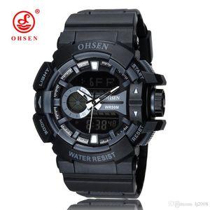 New 2017 OHSEN brand electronic quartz mens wristwatch Reloj Masculino hombre rubber band 50M waterproof LCD back light fashion Army clock