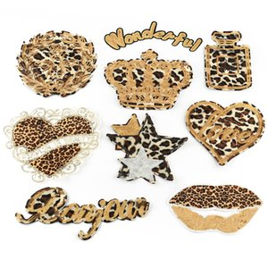 Duoku new embroidery cloth paste PET bead patch paste high-end clothing accessories Leopard pattern love crown letter