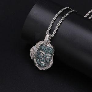 Emerald Green Diamonds Franklin Head Pendant Hip Hop Jewelry Fashion Mens Charm Necklace Gold 18k
