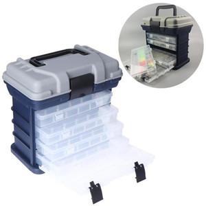 4 Camada Pesca Caixa de armazenamento Hooks móvel Lure Bait Combater Ferramenta Container com cabo de plástico Caso Organizador Outdoor portátil