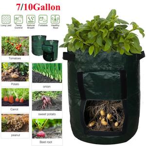 7 10 Gallon Vegetable Potato Growing Container Bags DIY Planter PE Cloth Planting Garden Fabrics Pot Tool