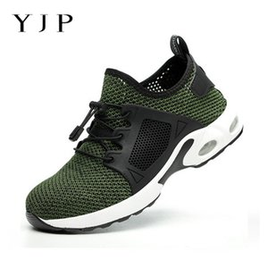 YJP 2019 Shoes Men Hiking Steel Toe Nose Work Safety Shoes grid Lightweight Sneaker Prevent piercing Protective Mesh Lace Up