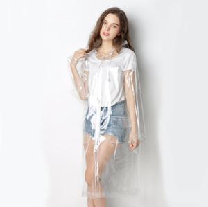 Freesmily Súper impermeable transparente para las mujeres forman EVA impermeable capa de lluvia del poncho reutilizable con la capilla del lazo