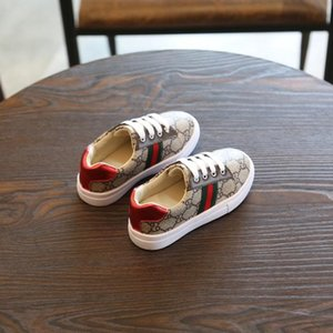 Kids Designer Shoes Fashion Letter Printed Striped Sneakers Boys Girls Child Luxury Sport Style Casual Breathable Shoes 2020 New