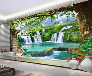 Wallpaper 3d Casual Green Tree Forest Waterfall Landscape Scenery Indoor Decoration Exquisite High-Grade Wallpaper