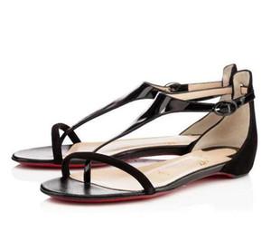 Rojo Verano base de piel Athena sandalias de la patente plana del ante sandalias cómodas con cierre de tiras señora que camina mejor fábrica tienda online