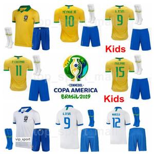 Youth NEYMAR JR Jersey Socks Brazil Copa America Soccer Kids FIRMINO COUTINHO SILVA DANI ALVES NERES Brasil Football Shirt Kits