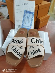 Pelle Newest- Branded Donne Woody Mules Fflat Slipper la Designer Lady Lettering tessuto esterno Sole scorrere Sandalo