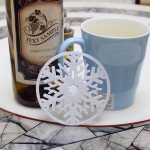 10 piezas mucho Feliz Navidad copos de nieve taza Pad Mat cena plato bandeja café almohadillas decoraciones de Navidad para el hogar Y18102609