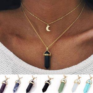 Mode Naturel Stone Pendant Pendant Pendentif Collier Crystal Quartz Bullet Hexagonal Prism Point Guérand Charme Chaînes d'or pour femmes Bijoux