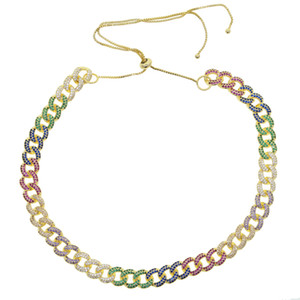 Iced Out Women Choker Necklace Rose Gold Metal Cuban Link Full With rainbow colorful Cubic Zirconia Stones Chain Jewelry