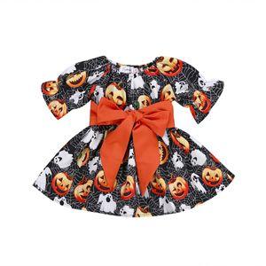 Baby Girls Dress Halloween Festival Party Тыква Большой Лук Платья Для Девочек Одежда Младенческая Роман Печатная Детская Одежда