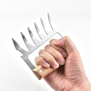 Metall Fleisch Claws Edelstahl Fleisch Gabeln mit Holzgriff Durable BBQ Fleisch-Shredder Claws Kitchen Tools Barbecue-Tool DBC DH2564