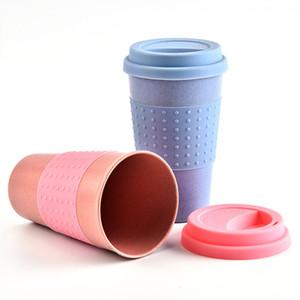Kapak Yüksek Sıcaklık Direnci Hafif Taşınabilir AC1138 ile 200pcs Silika Jel Coffee Cup Buğday Straw Elyaf Mug Plastik Araç Tumbler