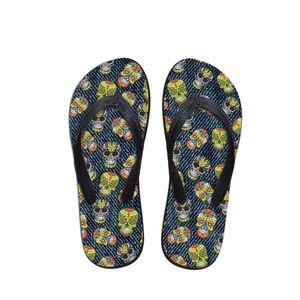 Customized Fashion Flats Women Flip Flops Home Casual Girls Rubber Summer Slippers Women Denim Skull Print Beach Ladies Shoes