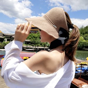 Fashion Bow Sun Hats Women Ponytail Sun Cap Ribbon Knitted Raffia Hat For Women UV Protction gorras Female Beach Hat