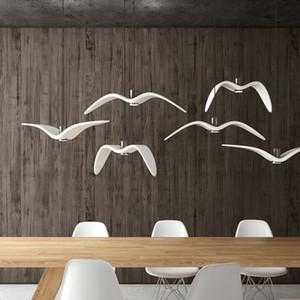 Criativa LED Branco Resina Pendant Gaivota lâmpada pingente céu liberdade luz pássaros noturnos Pendant preto branco lâmpadas de iluminação
