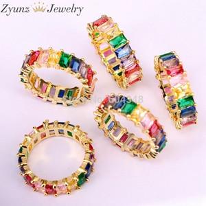 5pcs Gold Filled Bijoux De Mode Arc-En-Carré Baguette Cz Bague De Fiançailles Pour Les Femmes Coloré Cubic Zircon Cz Anneau J 190515