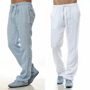 2020 Sommer-Freizeit-Hose 6 Farben 100% Leinen Baumwolle elastische Taillen-Männer Hose Regular gerade untere Flax Mann-beiläufige Hosen