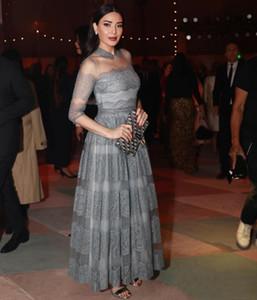 Dentelle robes de soirée en tulle avec appliques robe 1 2 rom manches longues longueur cheville Robes de soirée