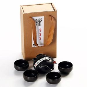 Presentes Chinese Kung Fu Tea Set Teaware portátil Set cerâmica Bule TeaSet Gaiwan copos de chá cerimônia do chá Pot roxo Gaiwan