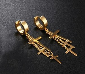 Fashion Hot Sale Three Crosses Dangle Earrings for Women Men Hip Hop Style Unisex Accessories Stainless Steel Jewelry