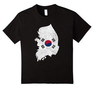 Güney Kore Ülke Bayrağı Ile Tee Gömlek Sıkıntılı Moda Kollu T Shirt Yeni Varış Kısa Kollu Zomer O-Boyun Büyük Indirim