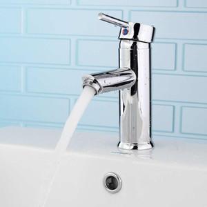 Xueqin - Mezclador para baño, latón, cromo, monomando, grifo, lavabo montado, baño, agua fría y caliente, solo orificio, grifo para lavabo de cocina