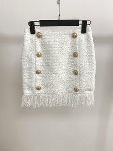 826 2019 Herbst Marke Gleichen Stil Kleid Kurzen Rock Knopf Über Dem Knie Weiß Mode Luxus Frauen Kleidung oulaidi