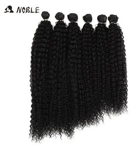 2020 New Noble Afro Kinky Curly Hair Weave 18-22 inch 6Pieces lot Synthetic Hair Bundles With Closure Ombre Hair Bundles Synthetic