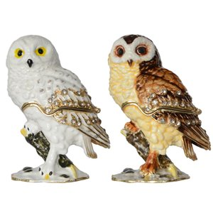 Coruja no Ramo Jóias Trinket Caixa De Jóias De Metal Caixa De Pássaro Estatueta Presentes Colecionáveis