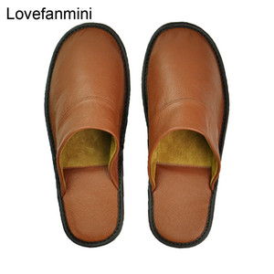 Genuine Cow Leather slippers couple indoor non-slip men women home fashion casual single shoes PVC soft soles spring autumn 528 Y200706