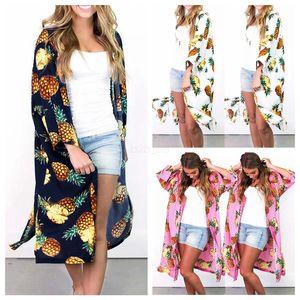 Mulheres Floral Suntan Cardigan Brasão Summer Beach abacaxi Casual blusa Impresso Longo Cape Bikini Cover-Ups solto Kimono Beachwear LJJ-AA2450