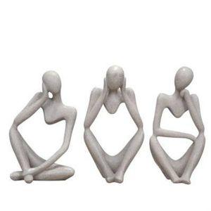 Pensador da estátua da arte abstrata pensamento de você figurine figura mão resina natural crfats escultura moderna home office mesa decoração