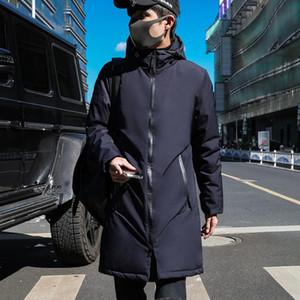 Nueva chaqueta de los hombres de invierno con tejido de alta calidad sombrero desmontable para cálida delgado masculino de la capa sencilla Parka larga para hombre jacke de algodón acolchado
