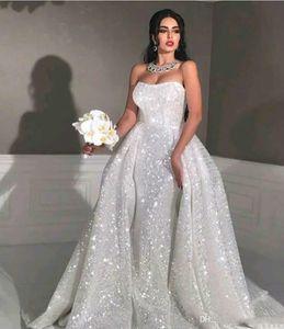 robes de mariée sirène arabe paillettes de style avec le train amovible Sweetheart pleine Paillettes Plus Size Robe de mariée Pays Ceinture Serre