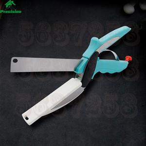 Aço inoxidável inteligente Cortador de 2-em-1 Utility Cozinha Scissors For Food Pão Carne de cortar legumes faca multi-função Food Cortador