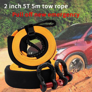 Heavy Duty Car Tow Rope 5T 5m Auto Emergency Safety Towing Rope Cable Wire With 2 Tow Hooks For SUV Truck Trailer Car