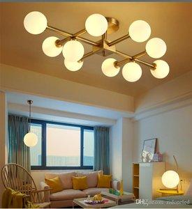 Nordeuropa LED Modo Glaskugel Kronleuchter Beleuchtung Gold-Pendelleuchte Glaslampenschirm-Deckenleuchte für Wohnzimmer Schlafzimmer Restaurant