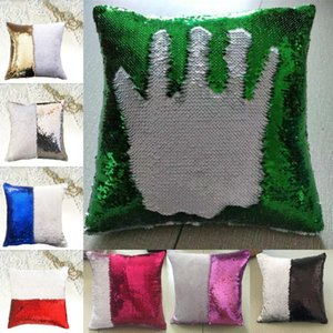 Lentejuela Sirena Throw Pillow DIY Glitter Mágico Cambio de Dos Colores Reversible Sofá Funda de Cojín Decorativa Oficina en casa Funda de Almohada