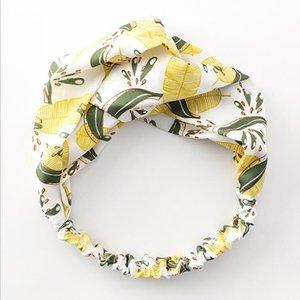 Version coréenne de Banana Leaf imprimé à larges bords Tissu Bandeau Croix sauvage Oreilles Bow Band cheveux Accessoires cheveux