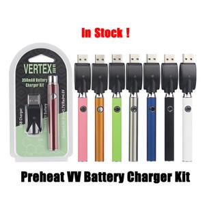 510 Gewinde Variable Voltage 350 mAh Vaper Pen Batterie mit USB-Ladegerät Vorglühen Vertex Blister Kit für dickes Öl Keramik-Kartusche