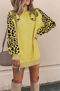 Осень Женщины Дизайнер Платья Дамы Цифровой Печатных Платье Повседневная Круглый Вырез Панелями Платье