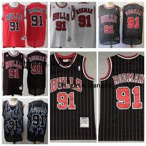 #91 Dennis Rodman Throwback Authentic Red Mens ChicagonbaBullsJersey Swingman Stitched Retro Stock Mesh Basketball Jerseys
